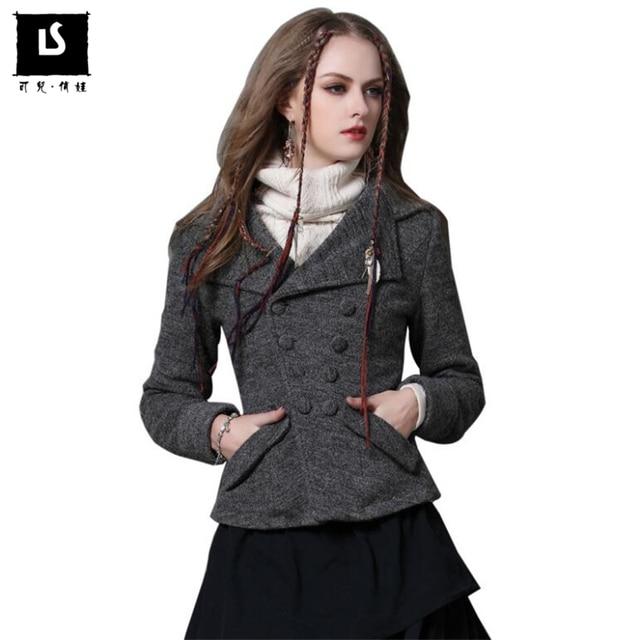 Femmes Laine Manteaux Vintage Slim manches longues Manteau Court Hiver  Nouvelle Europe Mode Chaud Épaississent poches 25539548bfaa