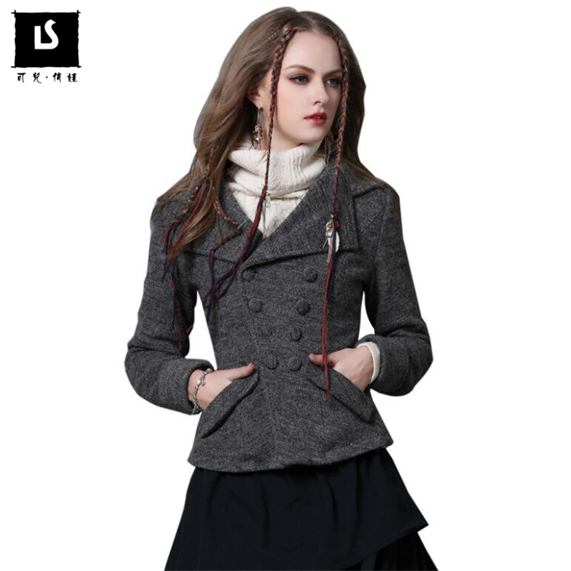 Women Wool Coats Vintage Slim long sleeves Short Coat Winter New Europe Fashion Warm Thicken pockets jacket winter coat women цены