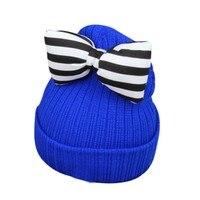 XSG Fashion Kid Baby Girls Boys Winter Warm Hat Knitted Crochet Butterfly Knot Wool Cap