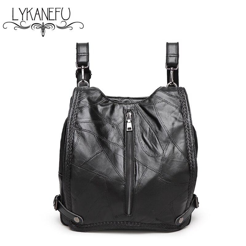 Preppy Style Soft Sheep Skin Leather Bag Backpack Woman Bag Fashion Brand Design School Mochilas Feminina