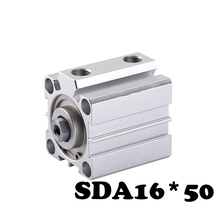 SDA16*50 Standard cylinder thin cylinder Aluminum Alloy Pneumatic Cylinder 16mm Bore 50mm Stroke  Air Cylinder 1 pcs 16mm bore 25mm stroke stainless steel pneumatic air cylinder sda16 25