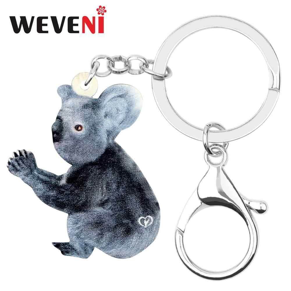 WEVENI acrílico Australia divertido gris Koala llavero moda Animal joyería para mujeres niñas adolescentes amuletos regalo recuerdo