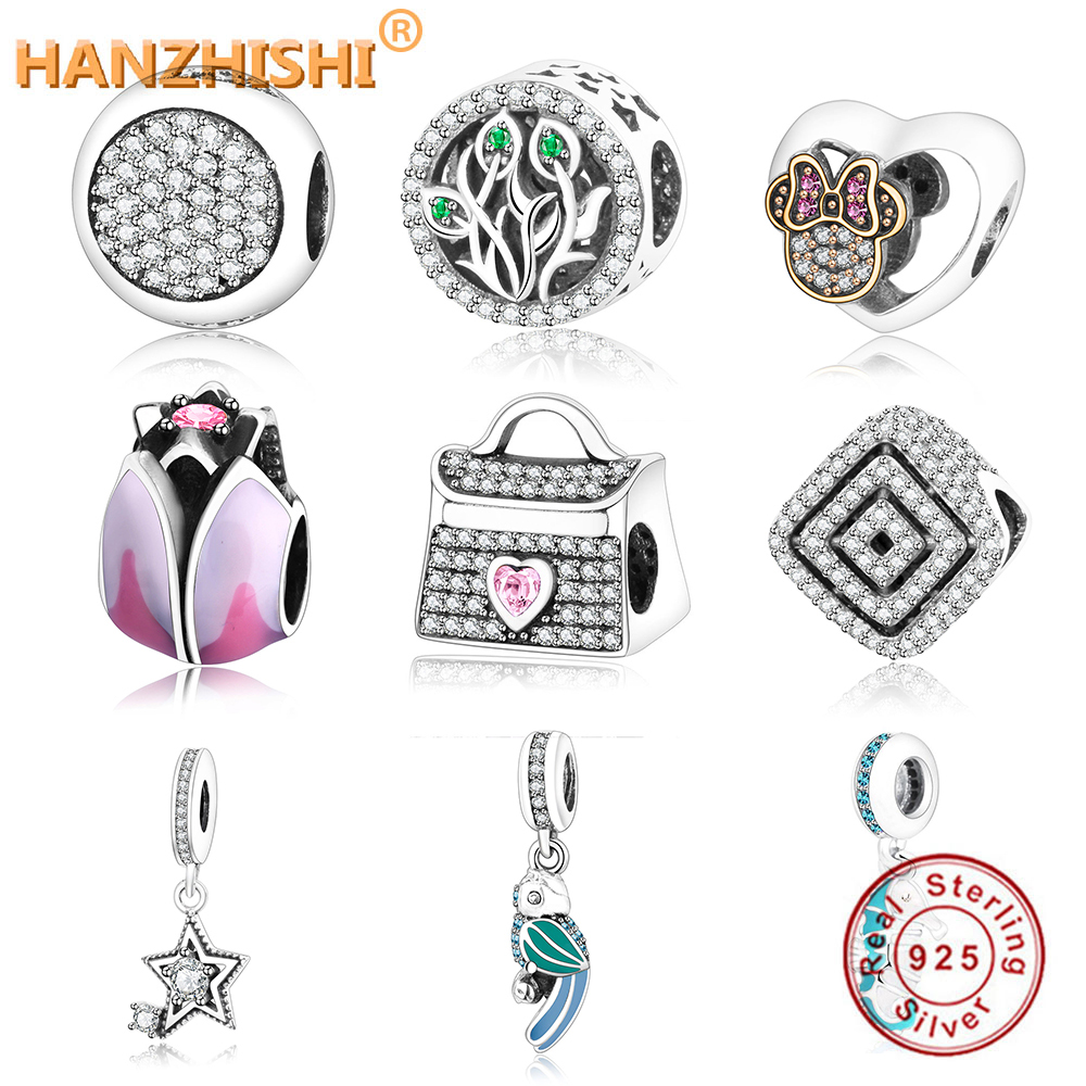 Beads 2019 Summer Collection 925 Sterling Silver Beads Handbag Charms With Pink And Clear Cz Fits Original Pandora Charm Bracelet Diy Spare No Cost At Any Cost Beads & Jewelry Making