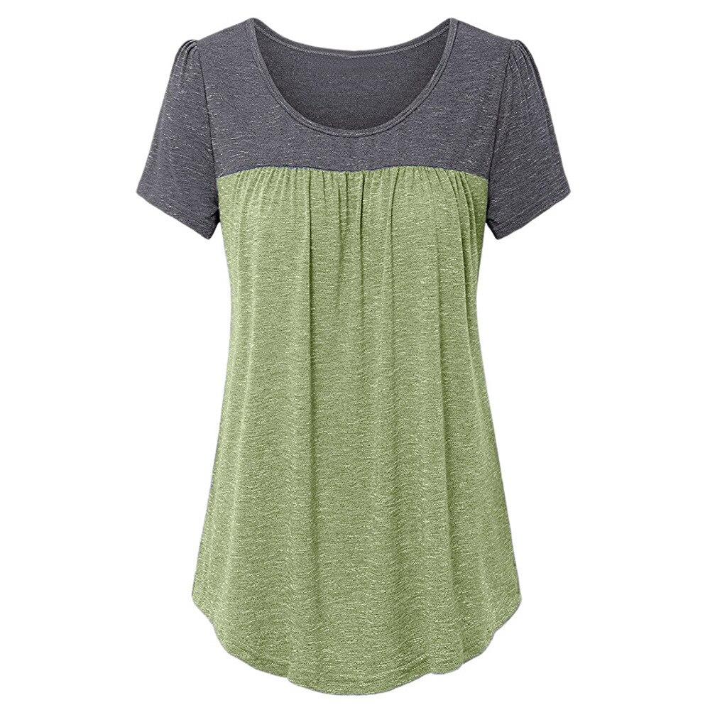 2018 Women Blouse Fashion Shirts Womens Short Sleeve Pleated Front Stitching Tunic Shirt Top Blouse