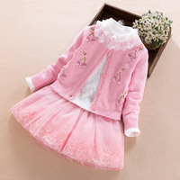 Baby Girl Clothes Set 2017 New Year Toddler Girls Clothing Sets Princess Skirt Coat Cotton Tops