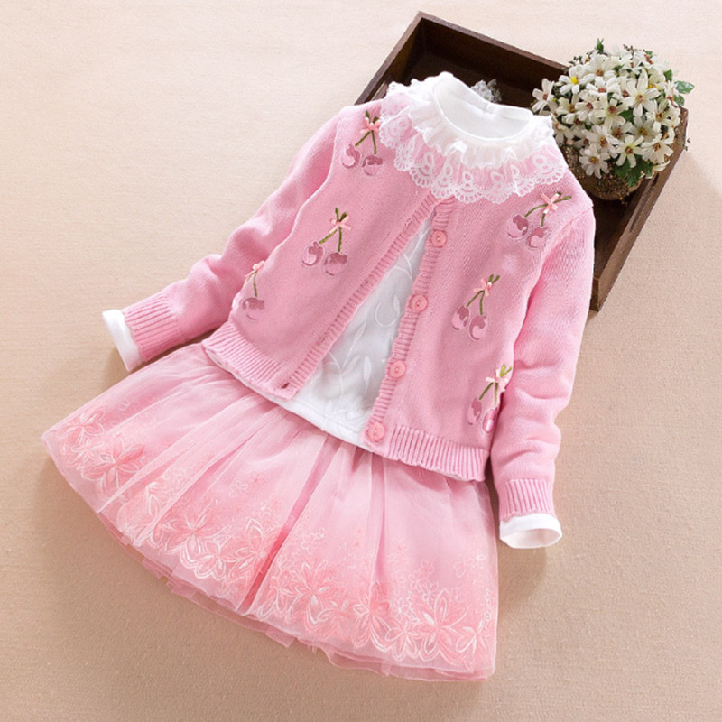 Baby Girl Clothes Set 2017 New year Toddler Girls Clothing Sets princess Skirt +Coat + Cotton Tops Suit kids children's costumes 2017 new kids clothes girls kitty clothing minnie sets baby cotton costumes children girl pajamas set roupas conjunto menina