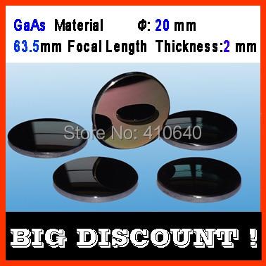 GaAs material diameter 20 mm focus length 63.5 thickness 2 CO2 laser len for engraver cutting Machine