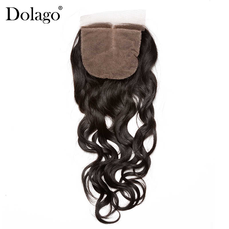 Silk Base Closure Brazilian Water Wave 100% Human Hair With Baby Hair Hidden Knots Closure Brown Lace Dolago Virgin Hair