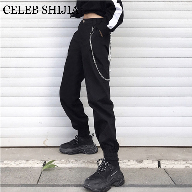 Streetwear Cargo   Pants   Women Korean Style Joggers Chain Black khaki High Waist Loose Trousers Ladies   Pants   summer   Capri