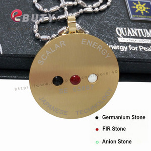 Image 2 - Gold Quantum Scalar Energy Stainless Steel Pendant with Far Infrared/ Negative Ion /Germanium Stones, 2 Pcs/lot Free Shipping