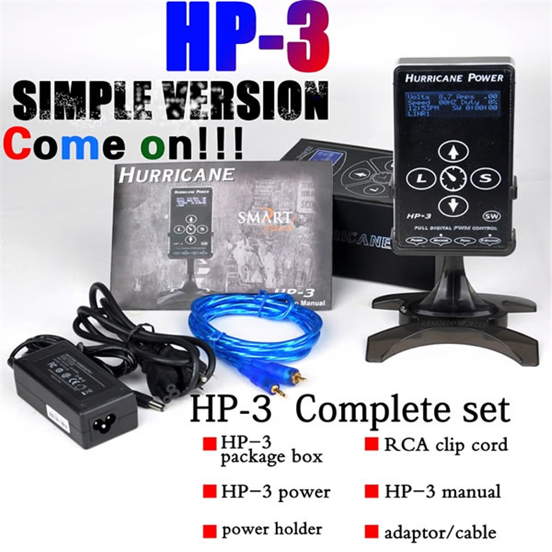 Professional HURRICANE HP-3 Tattoo Supplies Intelligent Digital LCD Display Black Tattoo Power Supply Machines Set