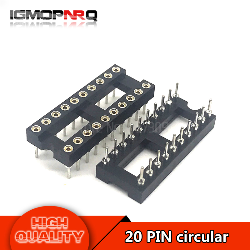 10pcs DIP20 Round Hole 20 Pins 2.54MM DIP IC Sockets Adaptor Solder Type 20PIN IC Connector