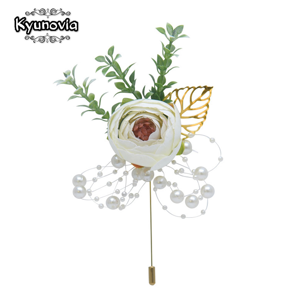 Kyunovia Wedding Boutonniere Wrist Corsage Beads Bracelet Bridesmaid Men Corsage Ivory Roses <font><b>Marriage</b></font> Prom Wedding Supplies FG01 image