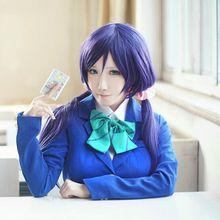 Amor En Vivo! LoveLive! Tojo Nozomi Cosplay Pelucas Púrpura Pelo Recto Largo 80 cm peluca Del Anime de la Peluca