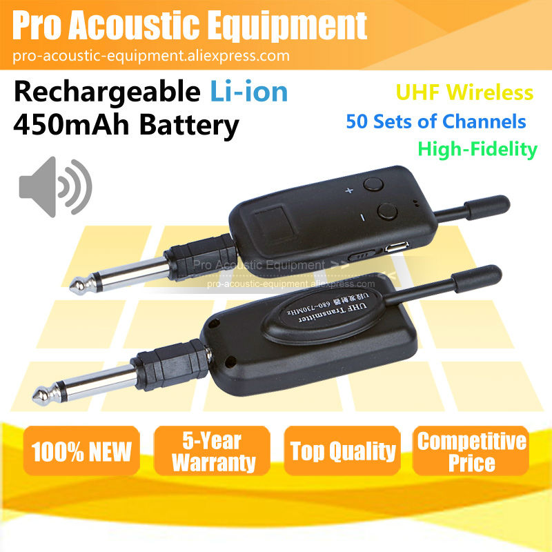 Free Shipping Wireless Electric Guitar Bass Piano Violin Keyboard Microphone Transmitter Receiver Audio Cable Line In Out System