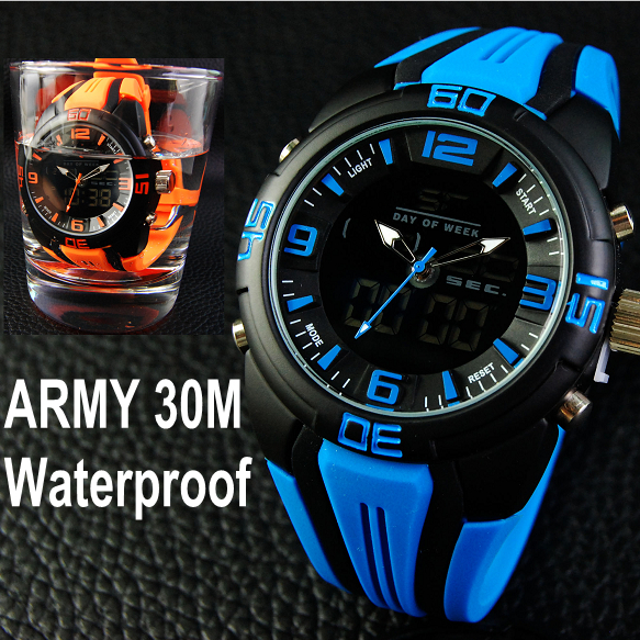 Multifunction Sports Watches For Men LED Digital Wristwatch Water Resistant Alarm Stop Watch Water Resistant Military