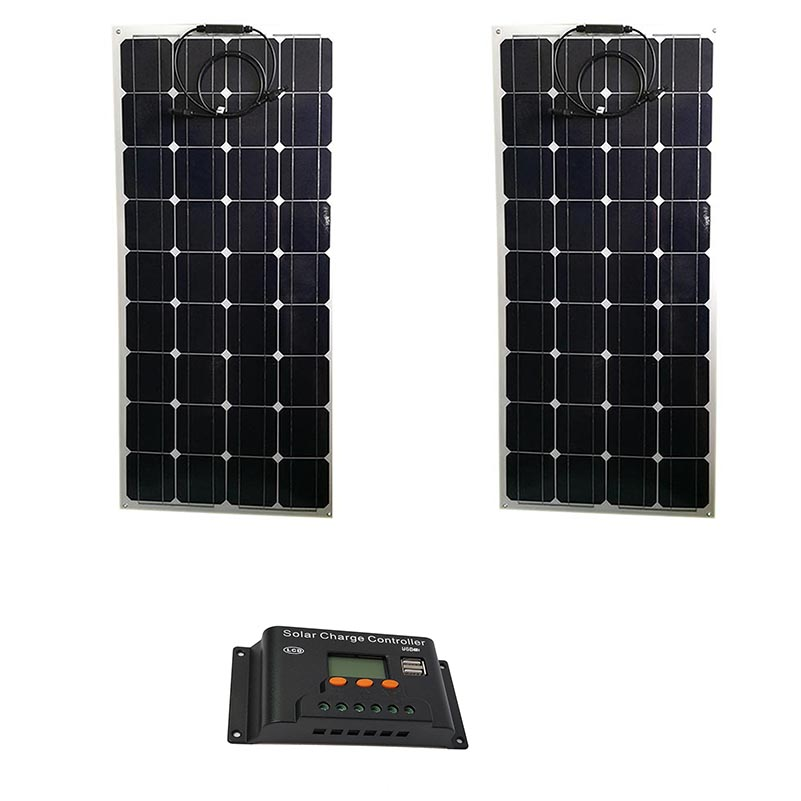 Waterproof Kit Solar Panel 200w Panneau Solaire Flexible 12v 100w 2 Pcs Battery Charger LCD Controller 12v/24v 20A Car Cam