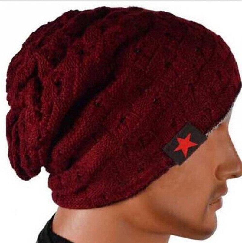 Unisex Women Winter Skull Men Knit Beanie Reversible Baggy cotton Cap Warm Hat Wine Red High Quality winter men women knit beanie reversible skull chunky baggy cap warm unisex hat