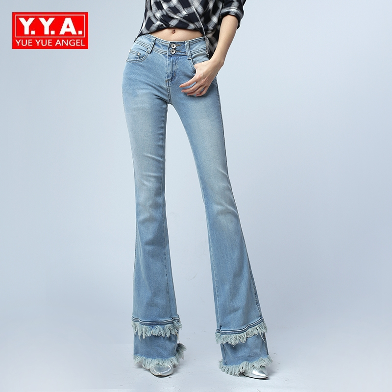 Female Korean Style Fashion Tassels Flare Pants For Women Vintage Mid Waist Woman Slim Fit Blue Denim Bell Bottom Jeans Trousers free shipping fashion women jeans loose ankle length ripped hole harem denim pants korean style casual mid waist femme trousers