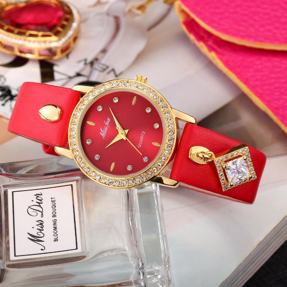 defef836028 Missfox vestido mulheres Relógios De Luxo Relogio feminino Moda Senhoras  Relógio de Ouro Movimento Japão relógio de Pulso de Quartzo Horas Couro  Relógio Uhr ...