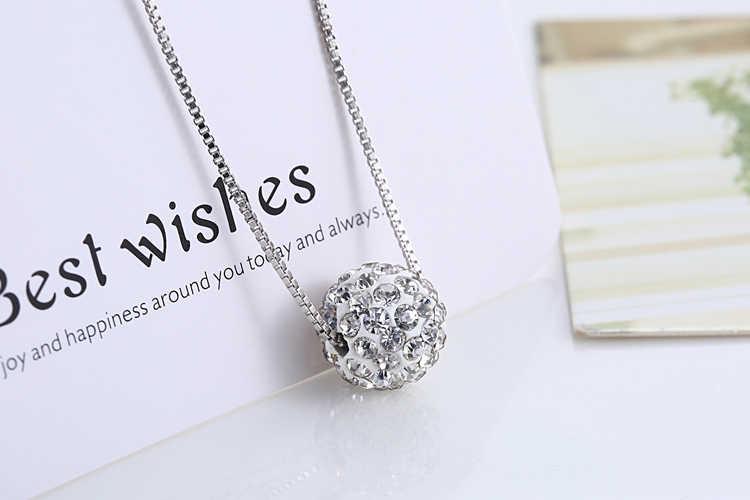 S925 naszyjnik z czystego srebra kobiet krótka konstrukcja crystal Shambhala ball chain elegancki krótki antyalergiczny