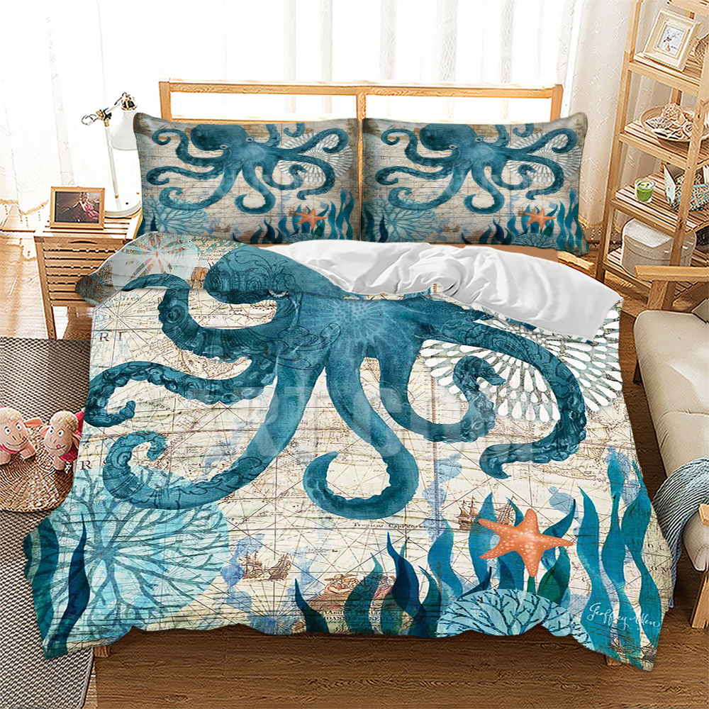 BEST.WENSD Wholesale 3D Bed Sets Duvet Cover+pillow Case Jellyfish Bedding Queen King Bed Comforter Quilt Cover -no Bed Sheet