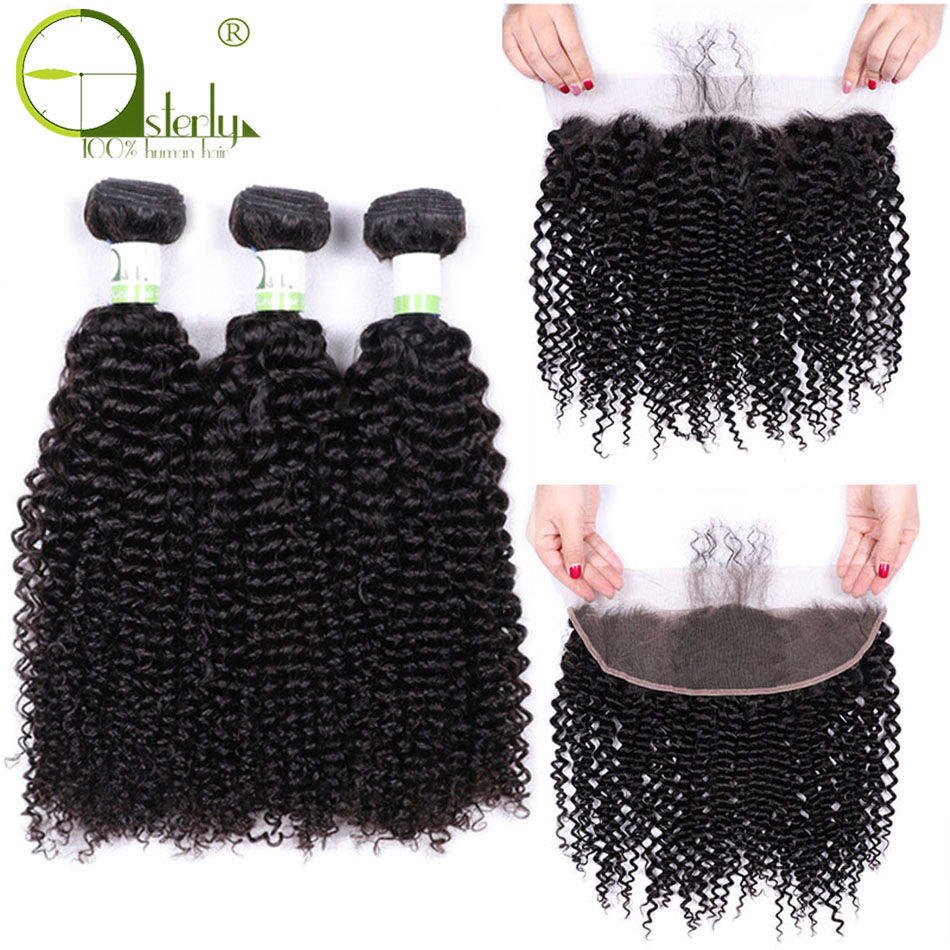 Sterly Kinky Curly Bundles With Frontal Non Remy Human Hair Bundles With Closure Brazilian Hair Weave Bundles With Closure(China)