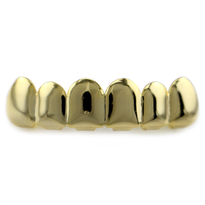 Hip Hop rapper Teeth Grillz Caps Fangs Top   Bottom Smooth Grill Groll Sets  for Mouth jewelry silver gold colors YT0002 - us980 3c21cf5806a60