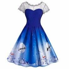 Для женщин Винтаж Кружево контраст Slim swing Рождество Цветочный принт линия платье Vestido De Festa