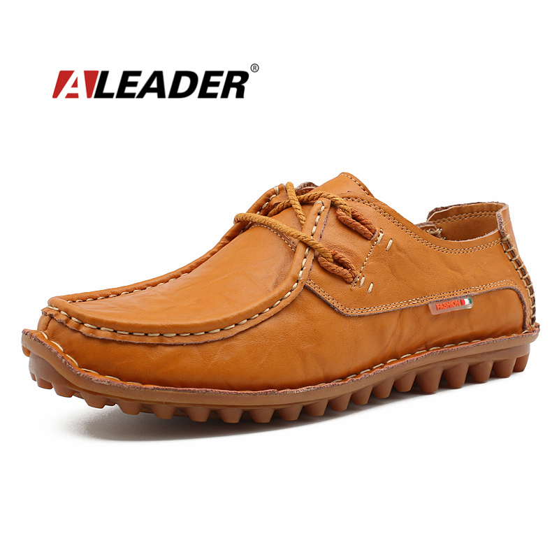 ALEADER Men Casual Leather Shoes Fashion Genuine Leather Mens Loafers Autumn Lace Up Designer Shoes Driving sapatos hombre aleader casual men genuine leather shoes fashion autumn hade made designer shoes dress shoes sapatos masculinos