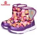 Flamingo 2016 nueva colección moda de invierno con botas de nieve de lana de alta calidad antideslizante zapatos de los niños para la muchacha 52-nc401