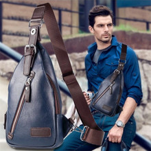 2019 New Anti-thief Crossbody Bag Chest Men Leather Bags Travel Male Sling Black/Blue
