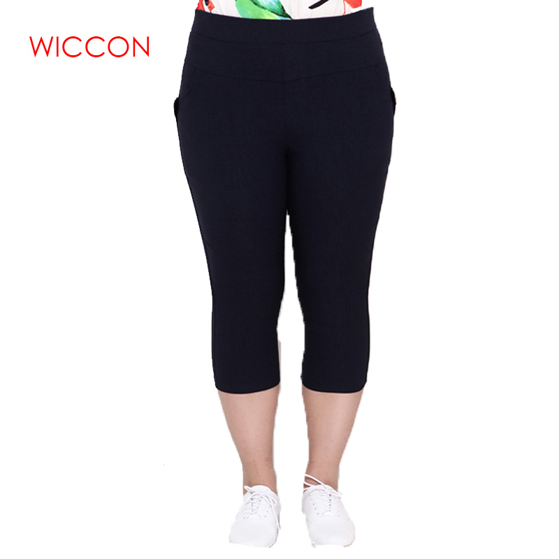 Plus Size Female Elastic   Pants     Capris   Good Quality High Waist Women Crops Stretch Summer Calf-length Pencil   Pants