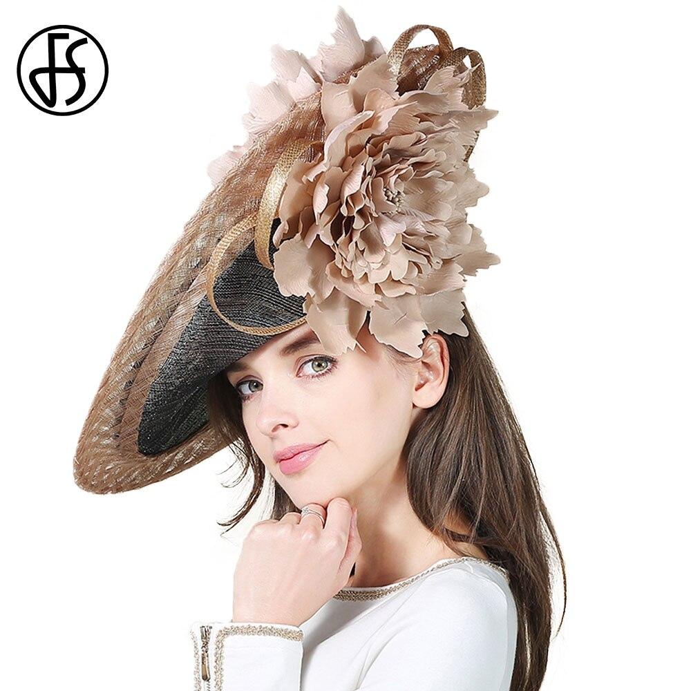 FS Large Brim Linen Kentucky Derby Hat Deep Blue Handmade Big Flower For Elegant Women Church Hats Formal Vintage Fascinator