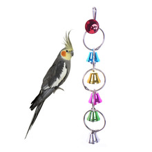 Colorful Pet Birds Ringer Parrot Conure Caique Cockatiel Craft Cages Chewing Bells Toy Pets Bird Cage Bell Supplies