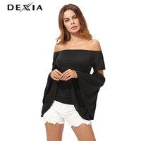 DEXIA אופנתי Harajuku שרוול ארוך לנשים חולצה שחור מוצק התלקחות צבע לקצץ חולצת t צוואר שרוול קצר כותנה נשים SKST8089