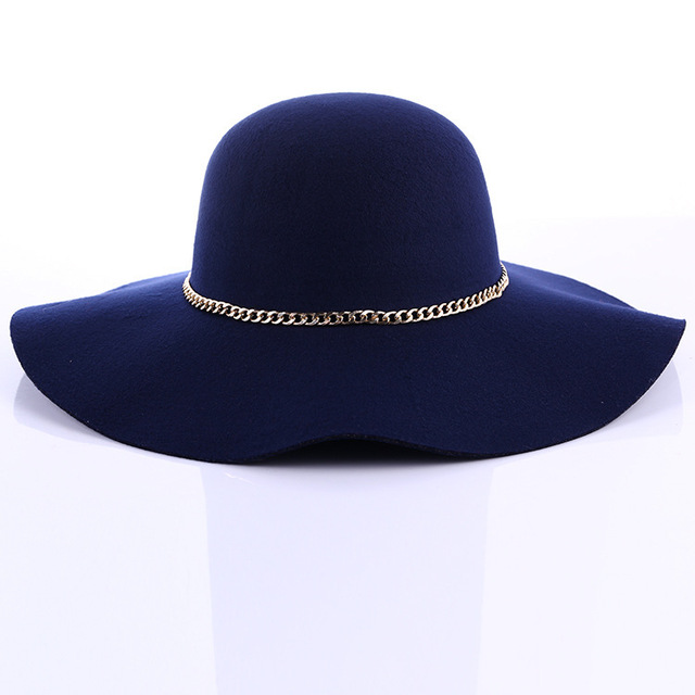 Новой Англии ретро Европейский стиль шерстяные купол волны шляпа Женщины большими полями сумма hat
