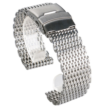 High Quality Stainless Steel Watch Band 18mm 20mm 22mm 24mm Mesh Shark Silver Watch Strap for Women Men Replacement Watchband