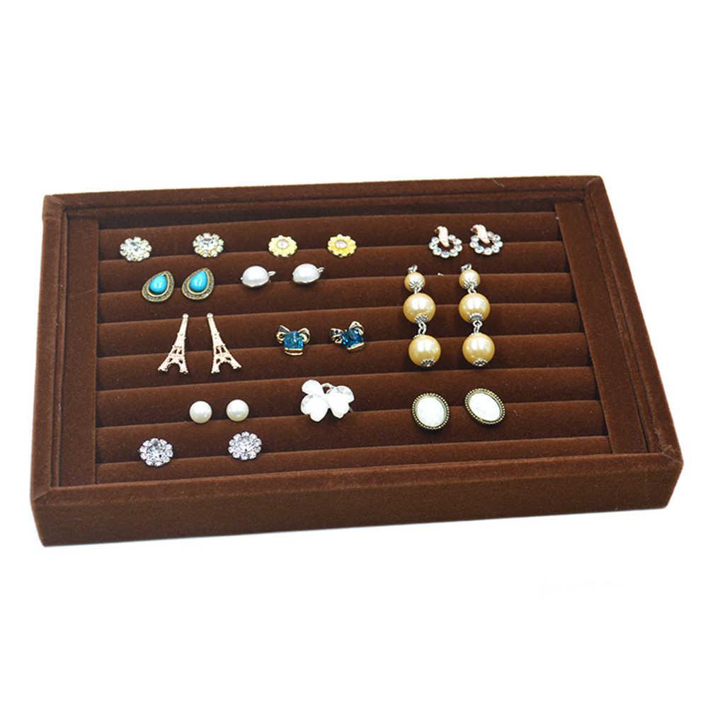 Portable Velvet Jewelry Ring pendiente insertar gemelos organizador caja de madera plana apilable bandeja soporte almacenamiento escaparate