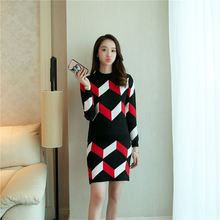 Women knit pullover + package hip skirt 2016 new Korean Women Slim thin catwalk models geometric pattern printing sweater suit
