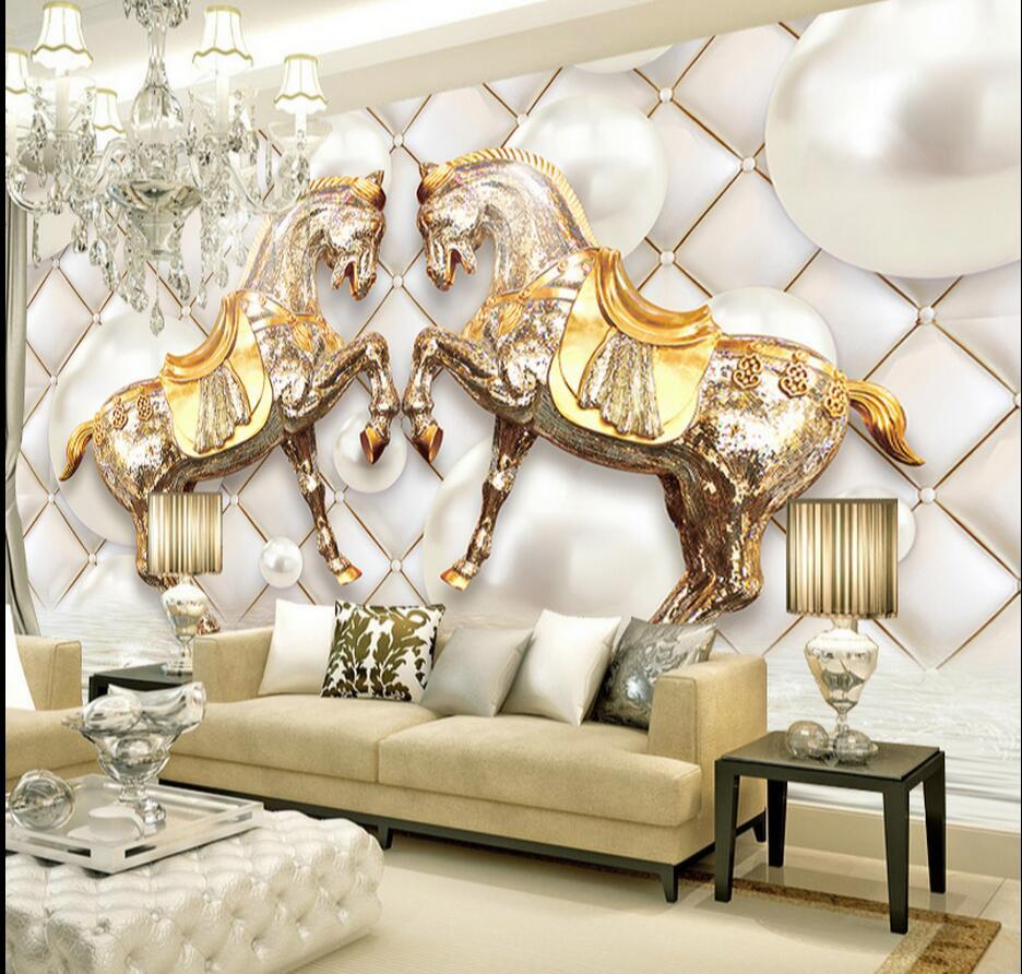 где купить 3D Abstract Photo Wallpaper Rolls Animal Horse Mural for Living Room Bedroom Wedding Room Wall Art Decor Photo Printed Painting по лучшей цене