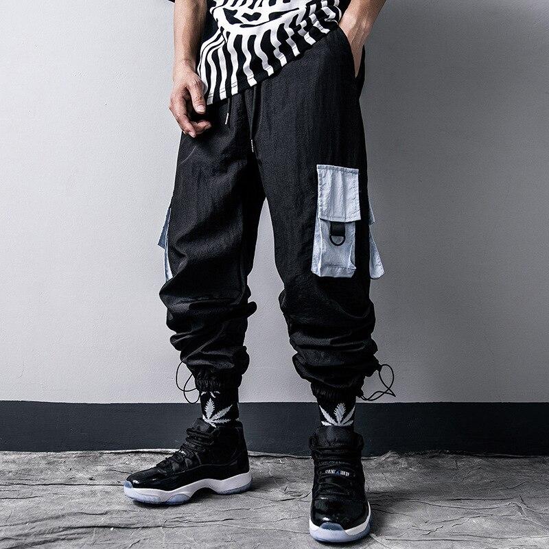 Hip Hop Cargo Pants Men Pocket Loose Trousers Casual Elastic Waist Fahsion Harajuku Streetwear Joggers Male Pant Us Size Gy17