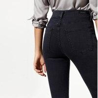 2017 Modaberries women skinny jeans black high waist rise in dark