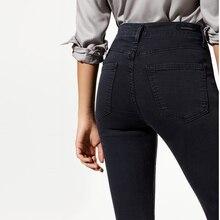 2017 Modaberries женщины skinny jeans черный высокая талия расти в темноте