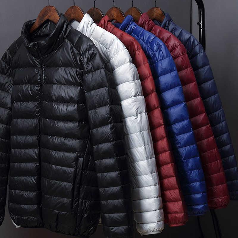 Мужская пуховая куртка с капюшоном, сверхлегкая водонепроницаемая уличная куртка, утиный пух, теплая одежда для зимы, 2019
