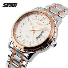 2017 Montres hommes marque de luxe Skmei quartz montre hommes en acier plein montres de plongée 30 m Mode sport montre relogio masculino