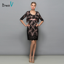 Dressv Lace Sheath Short Mother Of The Bride Dress With Jacket classic black cocktail dress mini mother of the bride dress
