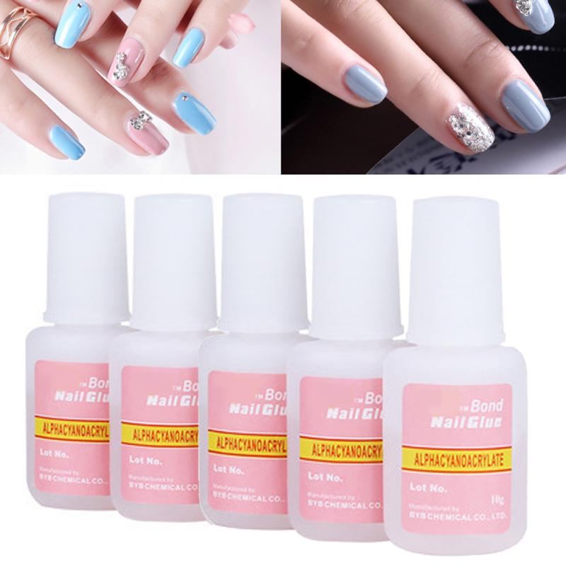 5 Pcs Fake Nails Glue Good Quality Pink Bottles of Nail Glue-in Nail ...