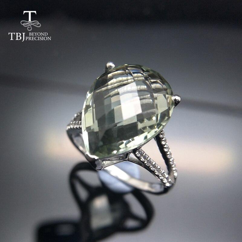 TBJ, Grand naturel 7ct vert améthyste damier de coupe Anneau en 925 en argent sterling pierres précieuses bijoux pour filles avec cadeau boîte