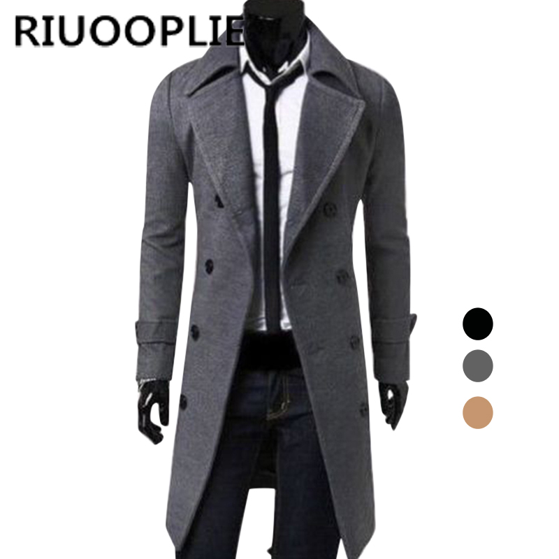 RIUOOPLIE Large Size Mens Winter   Trench   Coat Double Breasted Long Jacket Overcoat